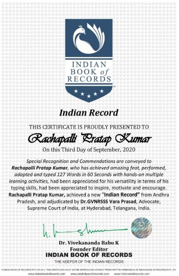 Indian Record in English Typing